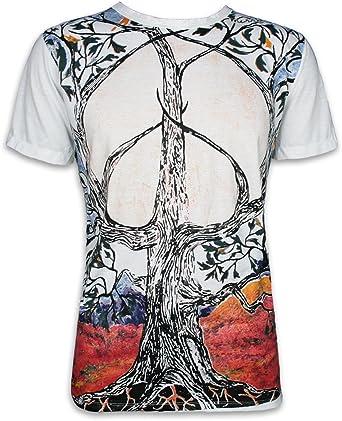 Mirror Camiseta para hombre, diseño del árbol de la vida con la paz