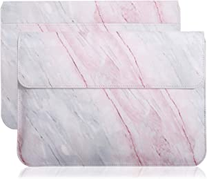 """MoKo 13-13.3 Inch Laptop Sleeve Case Compatible with MacBook Air 13-inch Retina, MacBook Pro 13"""", Dell XPS 13, Samsung Notebook 13.3"""" PU Leather Envelope Case with Document Pocket, Pink Gray Marble"""