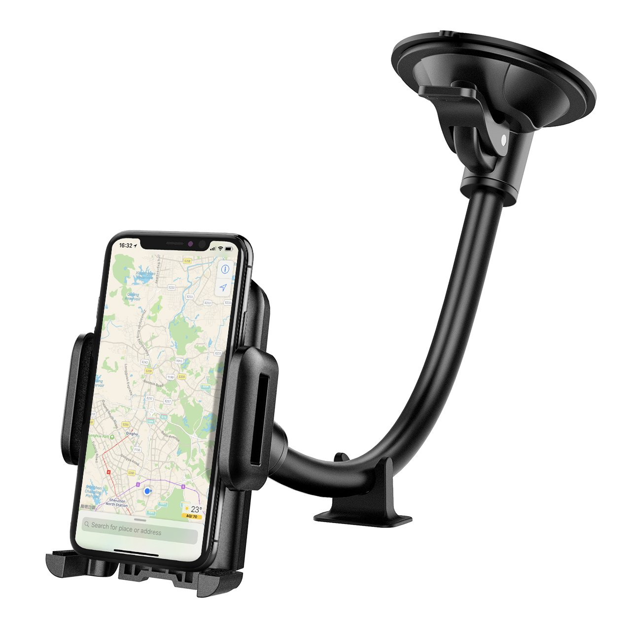 Car Phone Mount, Mpow Windscreen Car Phone Holder Grip Flex Universal Windshield Cars Cradle with Extra Dashboard Base and Dual Strong Suction Car Holder for iPhone X/10 8 7/7 Plus 6s/6/Plus 5s Samsung S9 S8 Note HTC LG and Others product image