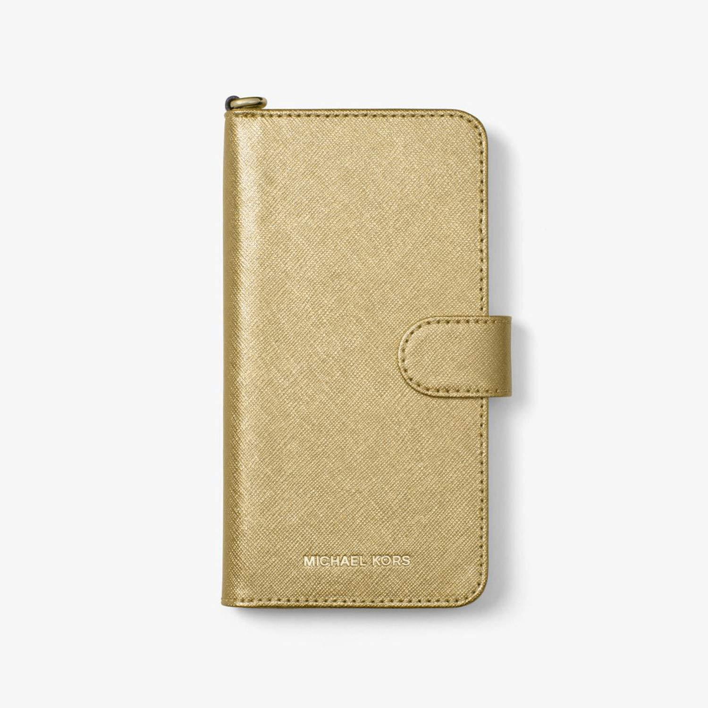 acb770a1d671 Amazon.com  Michael Kors Metallic Saffiano Leather Folio Case For iPhone X