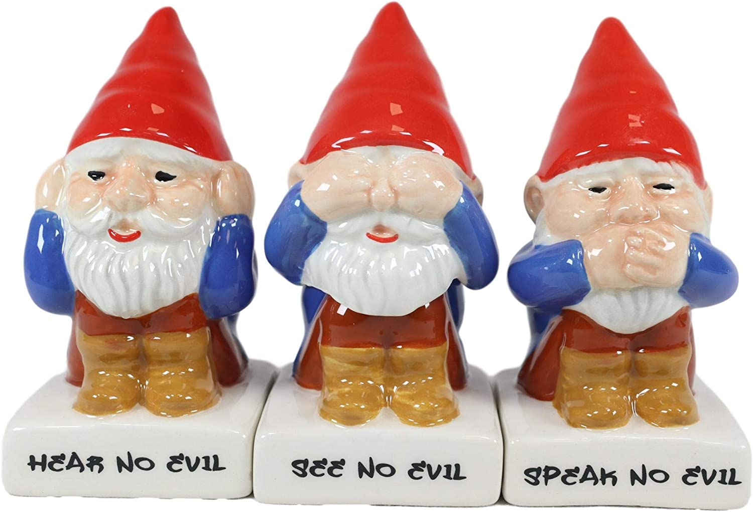 Ebros Gift Whimsical Magic Gnomes In See Hear Speak No Evil Ceramic Salt Pepper Shakers And Toothpick Holder Figurines Set Magical Gnome Family Dinnerware Serveware Accent