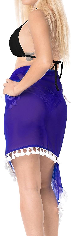 LA LEELA Shawls Scarves Scarf Womens Pareo Swimsuit Beach Swimwear Wrap Bikini Sarong Solid Plain A