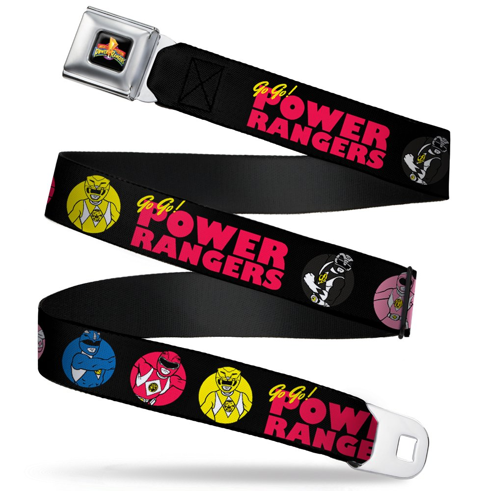 32-52 Inches in Length 1.5 Wide Power Ranger Pose Buttons GO GO POWER RANGERS Black//Red//Yellow Buckle-Down Seatbelt Belt