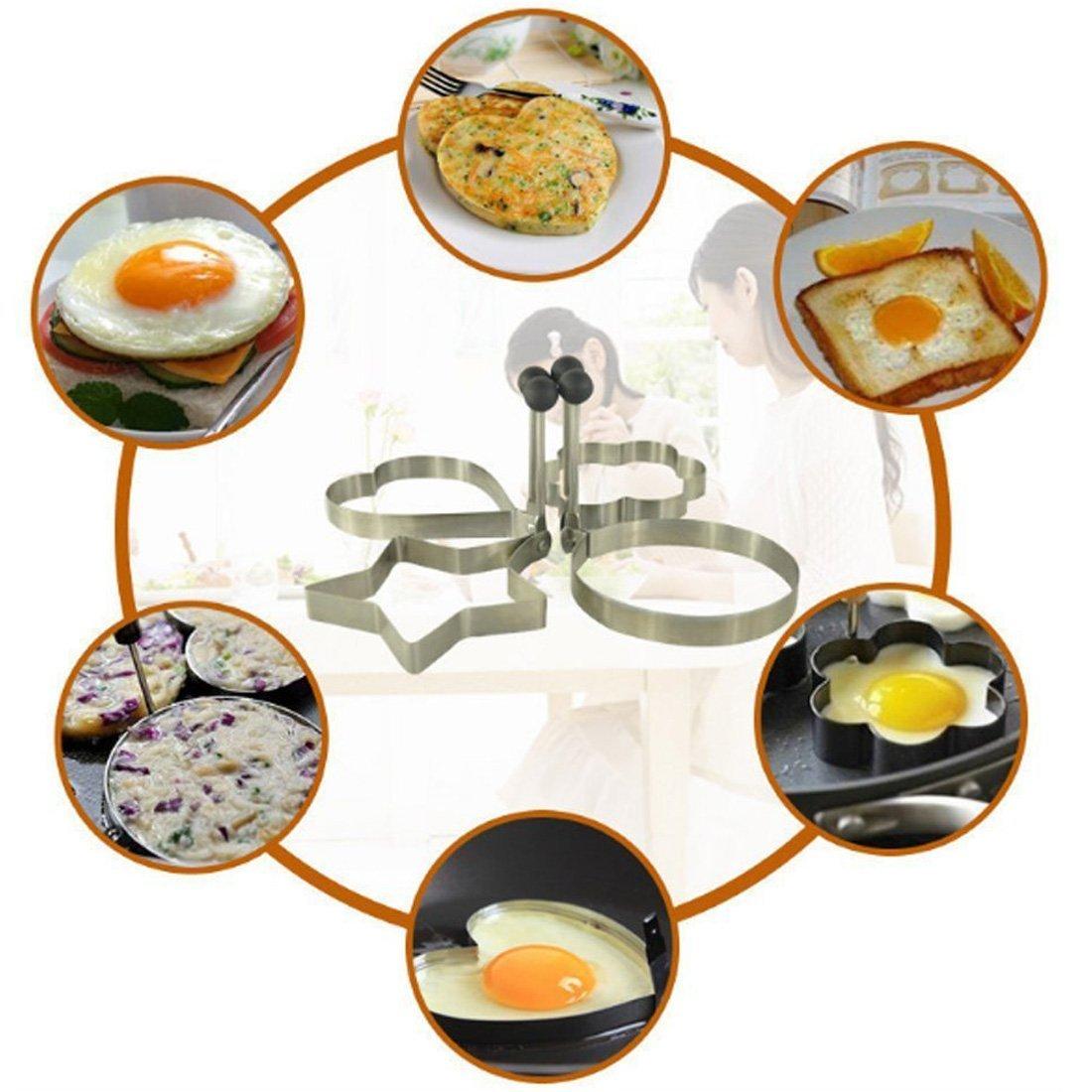 Amazon.com: eDealMax cocina de acero inoxidable antiadherente tortilla de huevo molde del molde de la crepe Anillo talladora con mango plegable (4 en 1): ...
