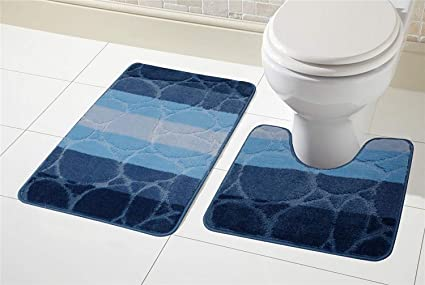 St At Llion Blue 2 Piece Bath Mat Pedestal Mat Sets Non Slip Water