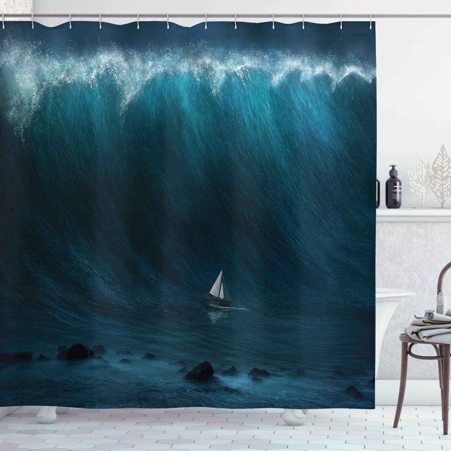 Ambesonne Ocean Shower Curtain, Small Boat Being Captured by a Large Wave Seastorm Tsunami Marine Aquatic Theme, Fabric Bathroom Decor Set with Hooks, 75 Inches Long, Dark Blue White