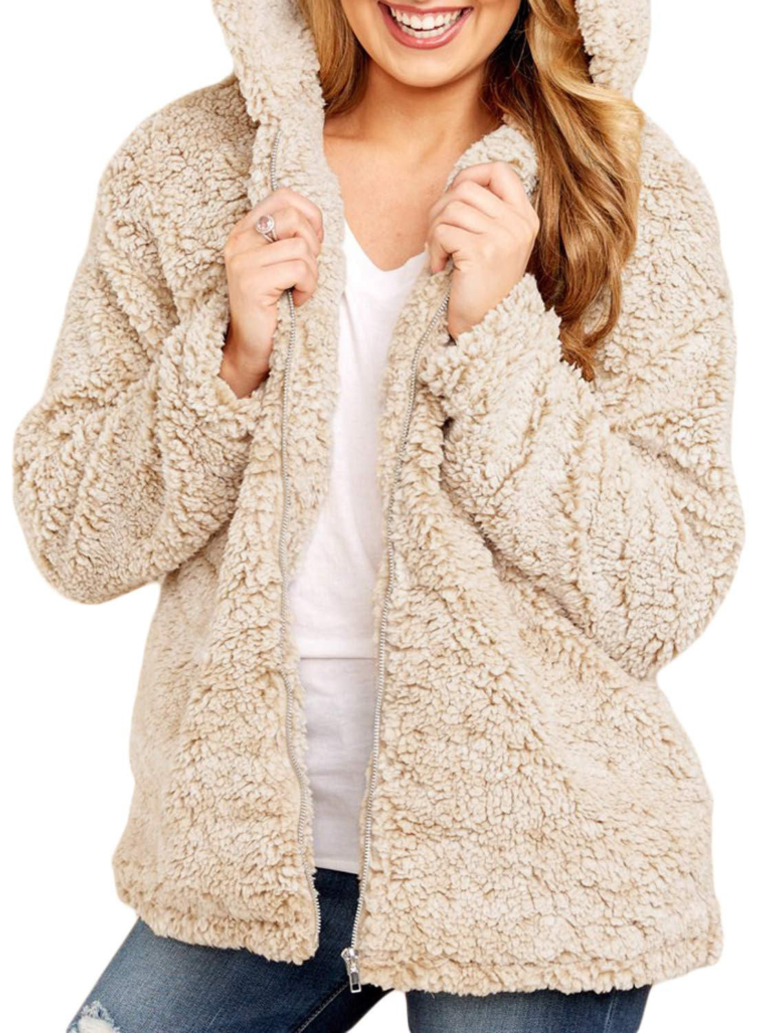 Dokotoo Womens Fuzzy Open Front Hooded Cardigan Jacket Coat Outwear with Pocket WG85111