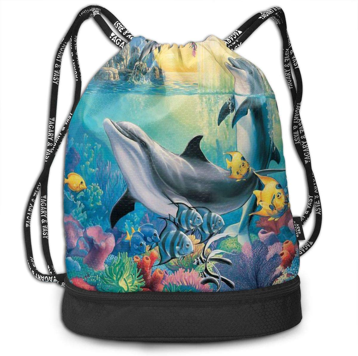 Drawstring Backpack Dolphins And Fish Shoulder Bags