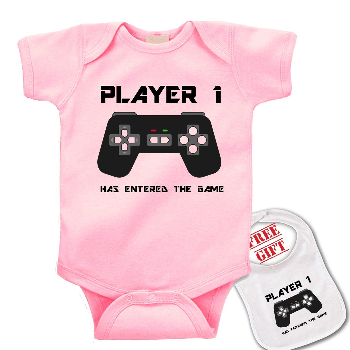 Player 1 has Entered The Game Cute Novelty Baby bodysuit onesie /& matching bib