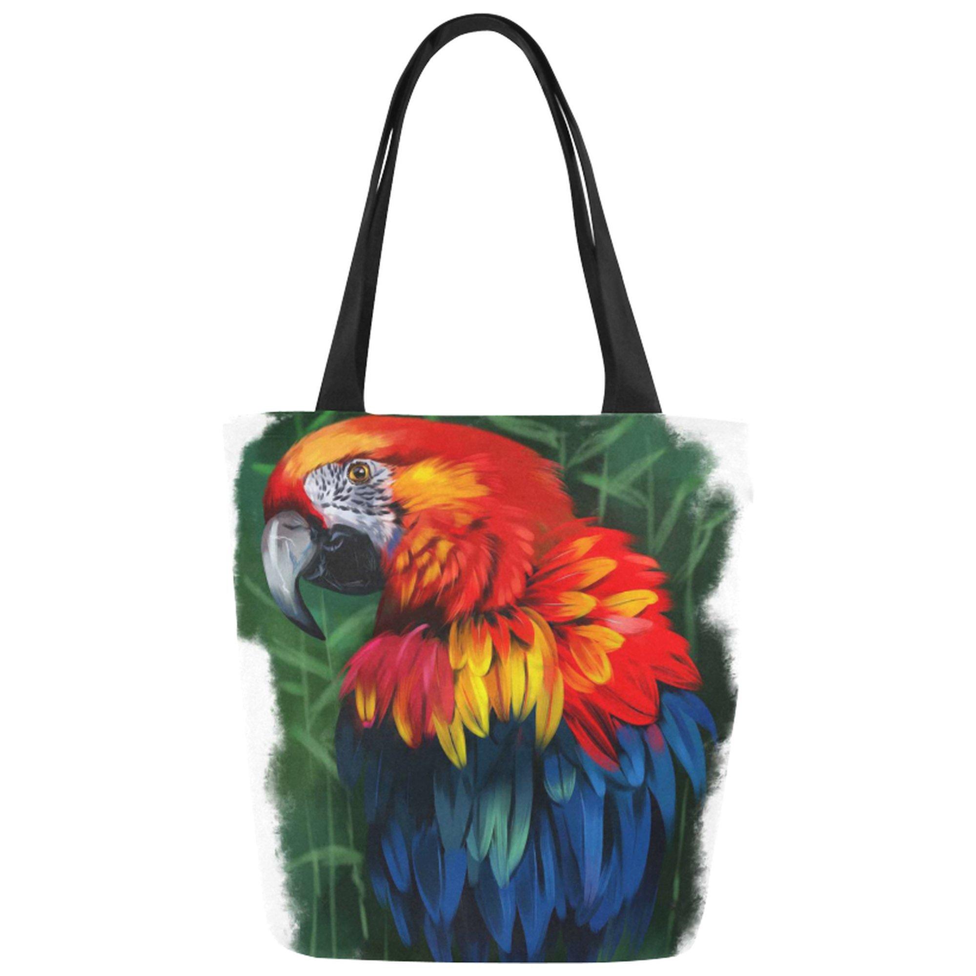 InterestPrint Animal Parrot Watercolor Painting Canvas Tote Bag Shoulder Handbag for Women Girls
