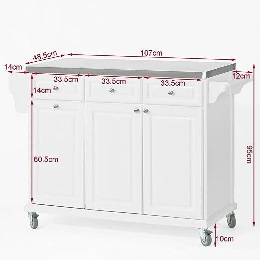 sobuy® fkw33-w neu luxus-küchenwagen mit edelstahlplatte ... - Küchenwagen Mit Mülleimer
