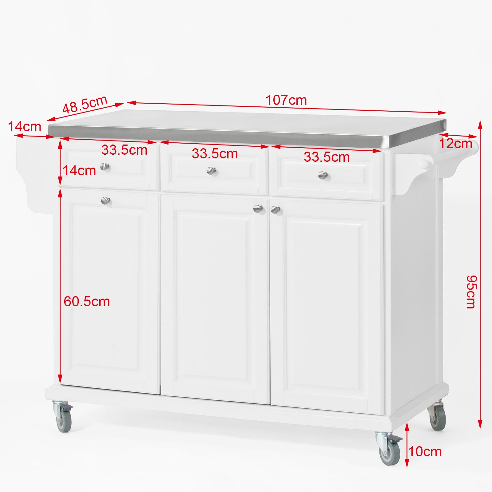 SoBuy?? White Luxury Kitchen Island Storage Trolley Cart, Kitchen Cabinet with Stainless Steel Worktop, FKW33-W by SoBuy by SoBuy (Image #4)
