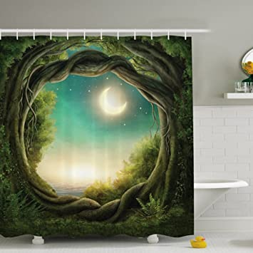 Holidayli Greenery Trees Shower Curtain For Decorate Bathroom Fairy Decor  In Artistic Enchanted Forest Full Moon