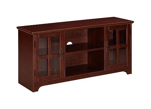 Ravenna Home Peterson Modern Glass Cabinet Storage TV Media Entertainment Console Stand, 46 W, Dark Espresso