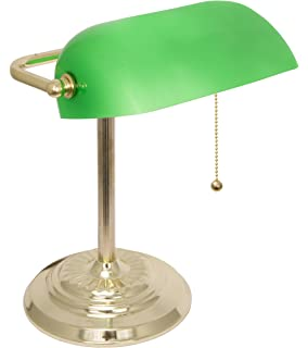 metal bankers desk lamp glass shade brass