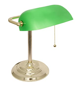 Banker's Lamp with Green Glass Shade, Brass Finish: Amazon.ca ...