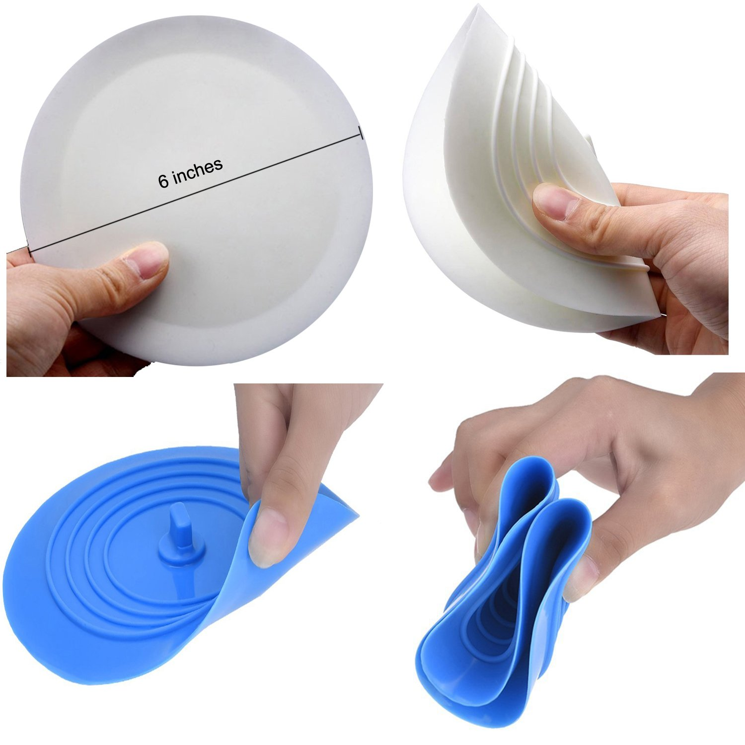 6 inches Large Silicone Bathtub Stopper Drain Plug Sinks Hair Stopper Flat Suction Cover for Kitchen Bathroom and Laundry HAL-062 V-TOP Tub Stopper 3 Pack White/&Gray/&Blue