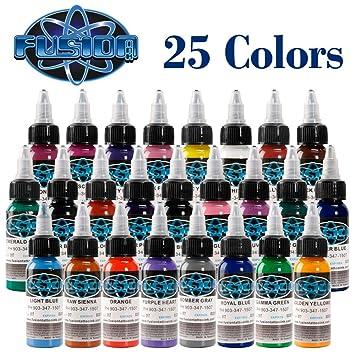 Amazon.com: Tattoo Ink Fusion tattoo inks Colors Set 1 oz 30ml ...