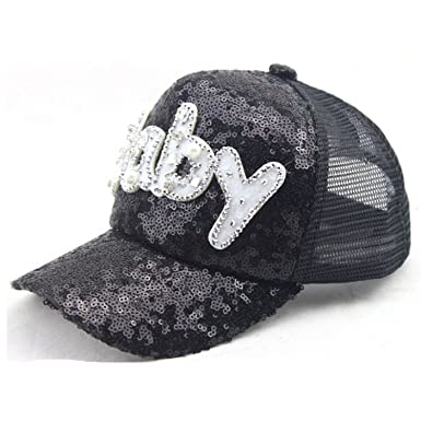 37a8cc243aab4 Fboards Trading Infant   Toddler Sequins Mesh Trucker Plain Snapback Letter  Baby Baseball Cap Hip Hop