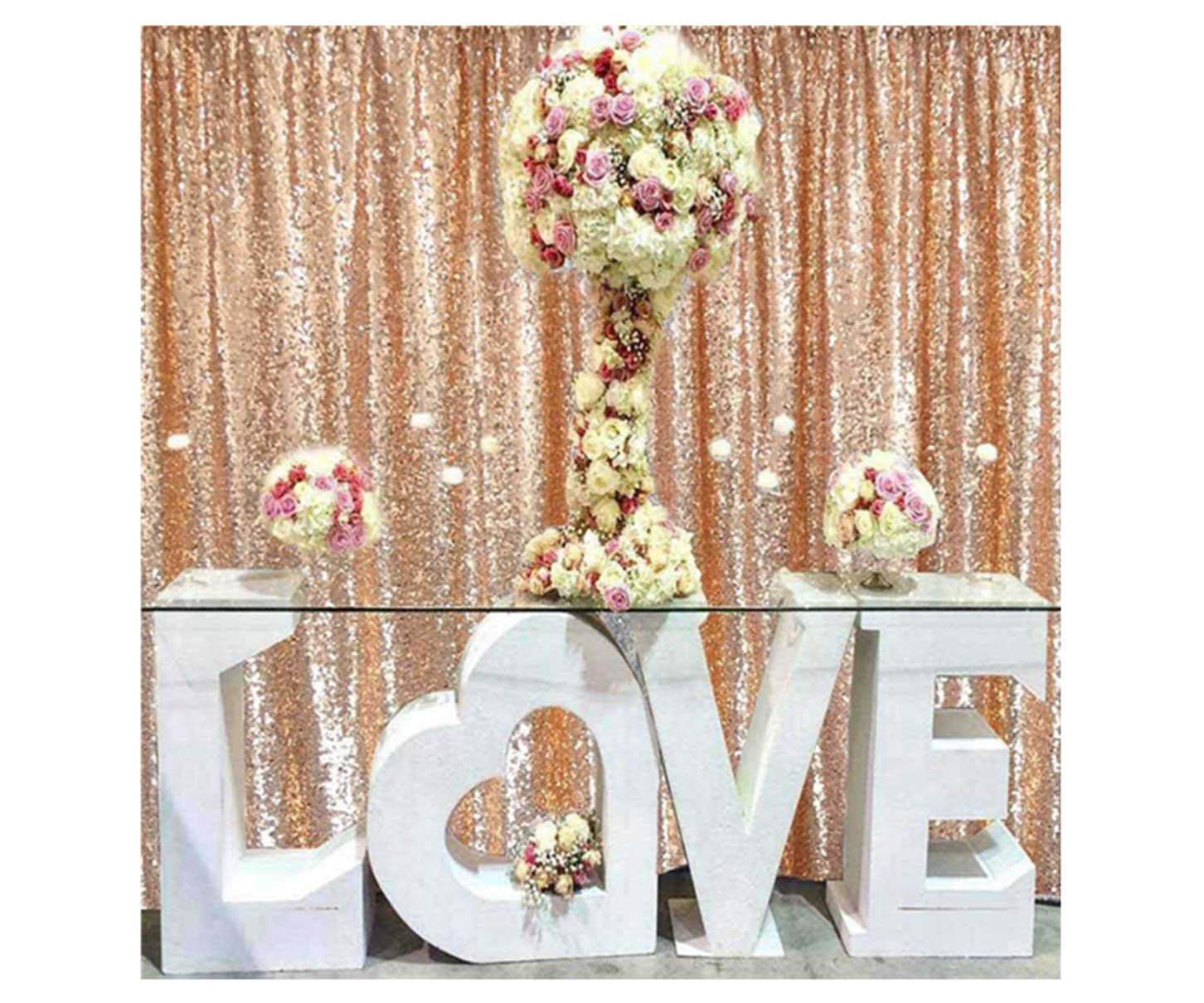 ShinyBeauty Glitter Backdrop Photo Backdrop Sequins-Rose Gold-7FTx7FT-Shimmer Curtains for Backdrop Sequin Curtain Backdrop