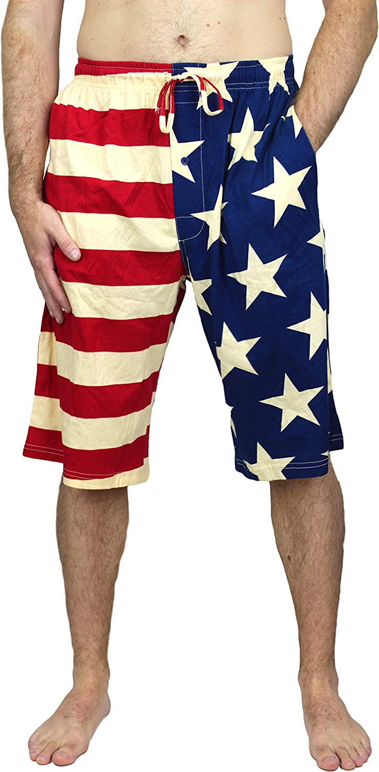 Under Disguise Men's American Flag Sleep Short Patriotic USA Pajama