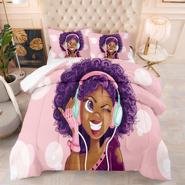 Black Girl Bedding Comforter Set Pink African American Girls Quilt Sets for Kids ,Birthday Gift for Black Women Girls ,1 Comfoter +1 Pillowcase