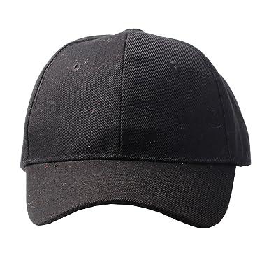 Unisex Plain Black Baseball Cap with Velcro Fastening  Amazon.co.uk ... 3bc31561a98