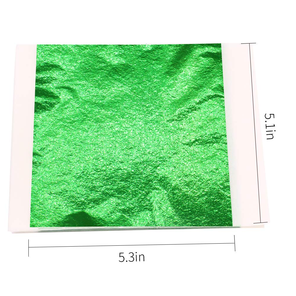 5.1 x 5.3 Loose Leaf Arts Project Imitation Gold Foil Leaf Sheets VGSEBA 100 Pieces Green Metal Leaf Papers Perfect Choice for Gilding Crafts Furniture Decorations