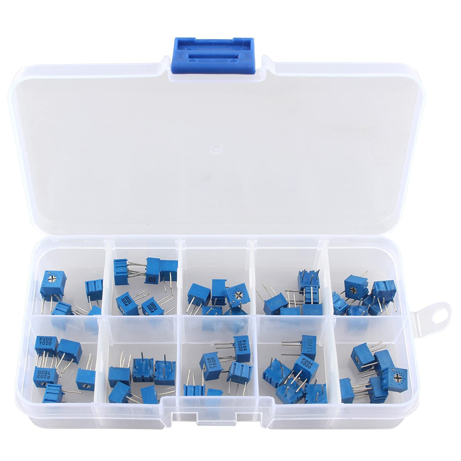 HALJIA 50PCS 10Value 100 ohm to 1M ohm 3362 Multiturn Trimmer Potentiometer Assorted Kit Variable Resistor with Plastci Box