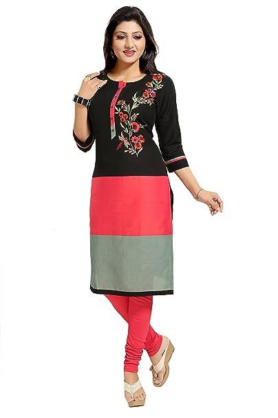 78ea1858ec84f Dragaon Party Wear Black Designer 3 4 Sleeve Long Kurti  Amazon.in ...