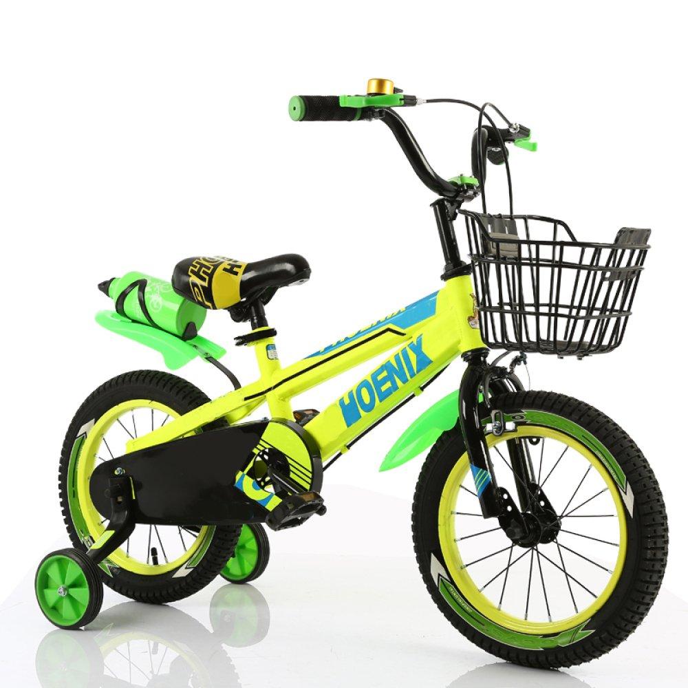 ZCRFY Premium Safety Sport Kids Bicicleta para Niños Ajustable Boys Girls Student Pequeños Infantil con Hervidor De Agua Bicicletas Infantiles Macho Y Hembra,Yellow-16Inches