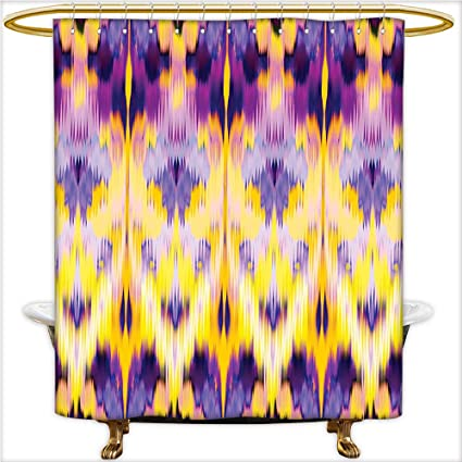 Qinyan Home Design Shower Curtain Ikat Pattern Dyeing Effect Illustration The Resist Of Colors Indonesian