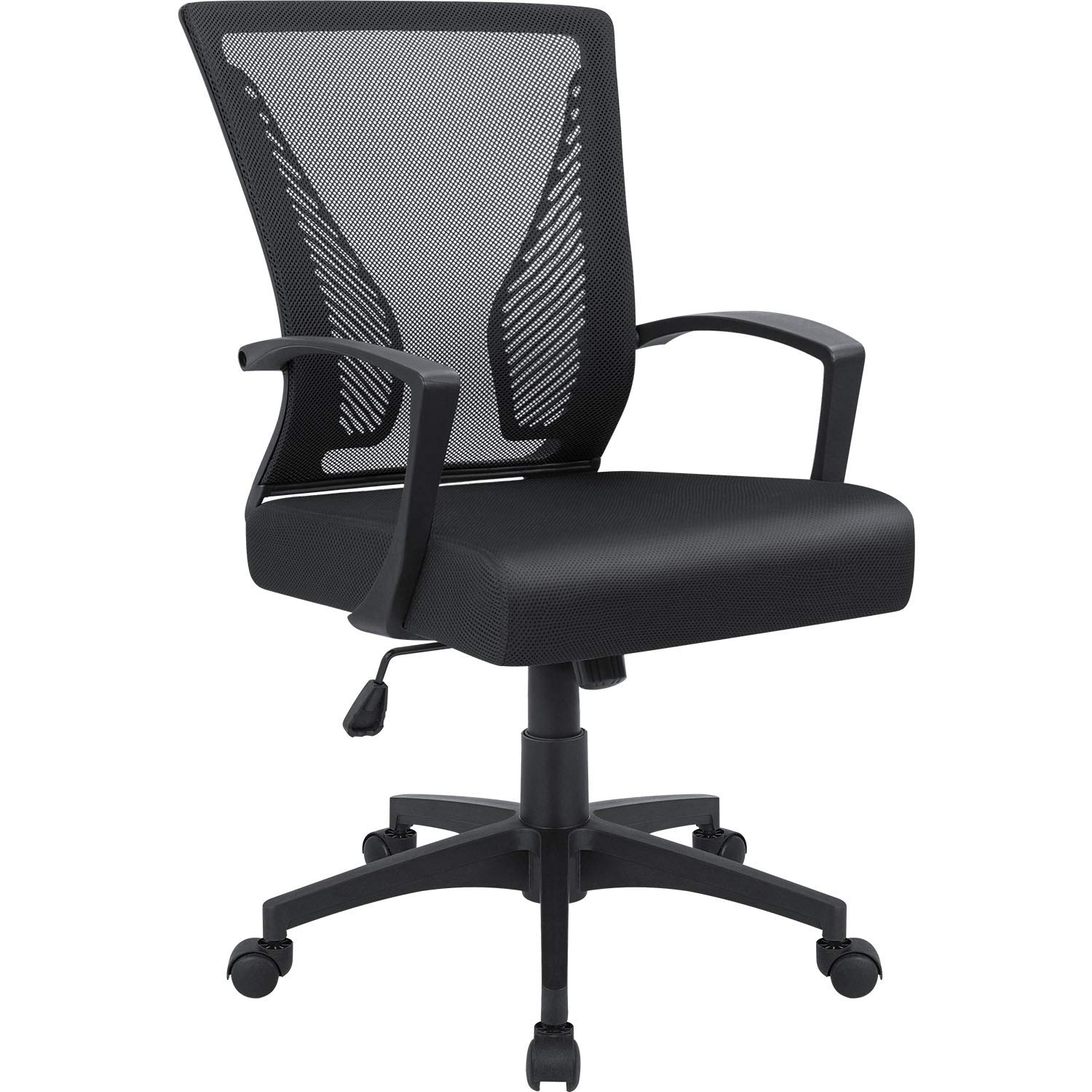 Furmax Office Chair Mid Back Swivel Lumbar Support Desk Chair, Computer Ergonomic Mesh Chair with Armrest (Black) by Furmax