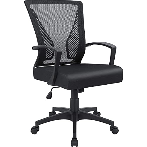 Furmax Office Mid Back Swivel Lumbar Support Desk, Computer Ergonomic Mesh Chair with Armrest