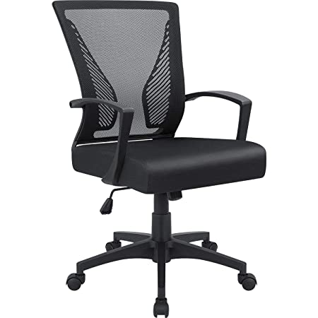 Furmax Office Chair Mid Back Swivel Lumbar Support Desk Chair, Computer Ergonomic Mesh Chair with Armrest Black
