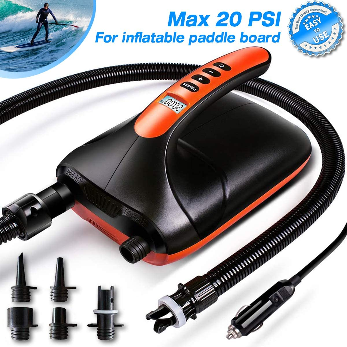 20PSI High Pressure SUP Pump Dual Stage 12V DC, Electric Inflatable Paddle Board Pump Auto-Off Function for Stand Up Paddle Board,Inflatable Boats/Tent/Kayak