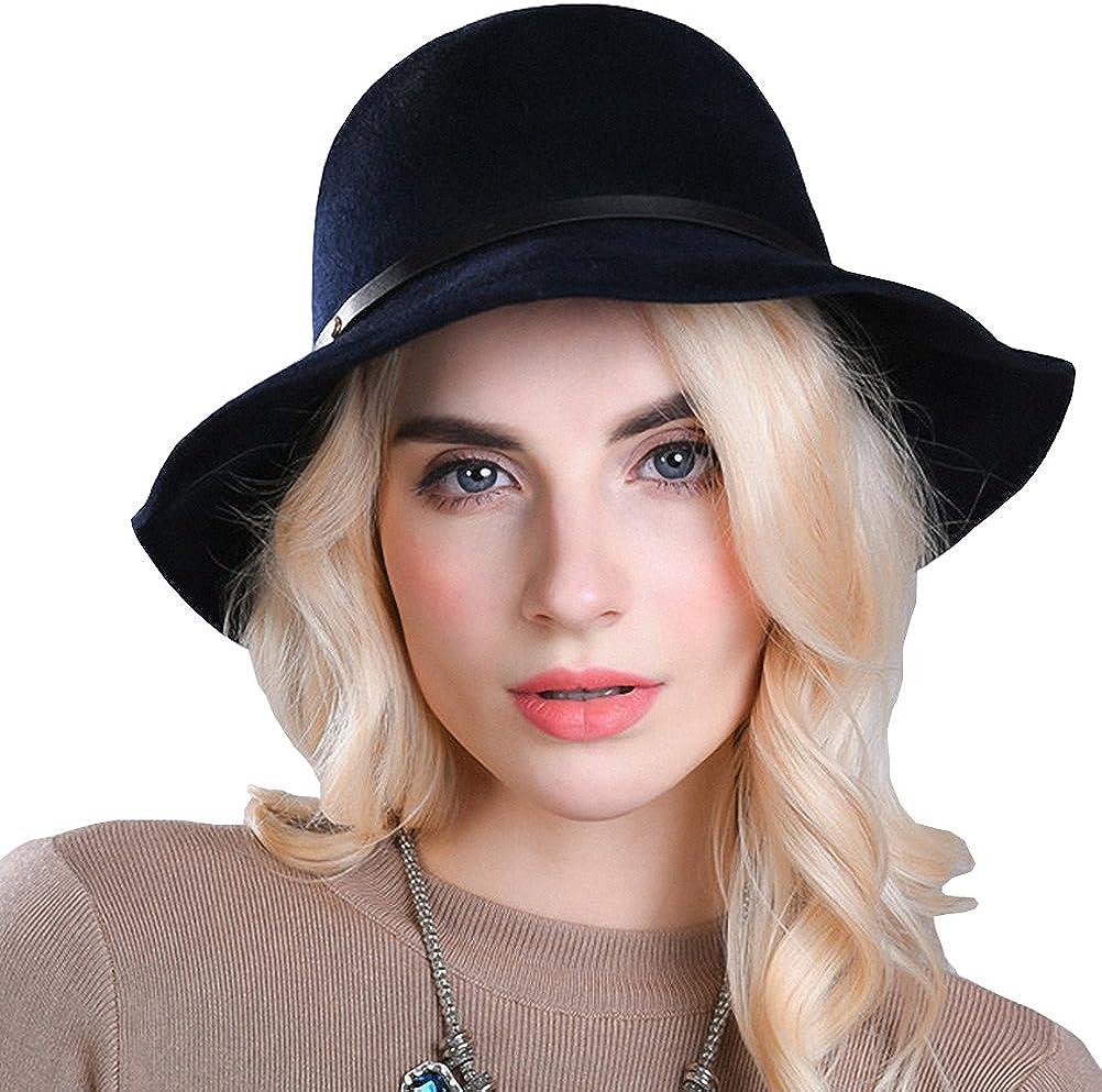 Maitose Womens Belt Wool Felt Church Bowler Hats