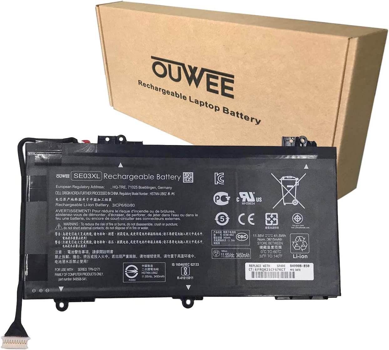 OUWEE SE03XL Laptop Battery Compatible with HP Pavilion 14 14-AL000 14-AL125TX 14-AL136TX Series SE03041XL HSTNN-LB7G HSTNN-UB6Z TPN-Q171 849568-421 849568-541 849908-850 11.55V 41.5Wh 3615mAh
