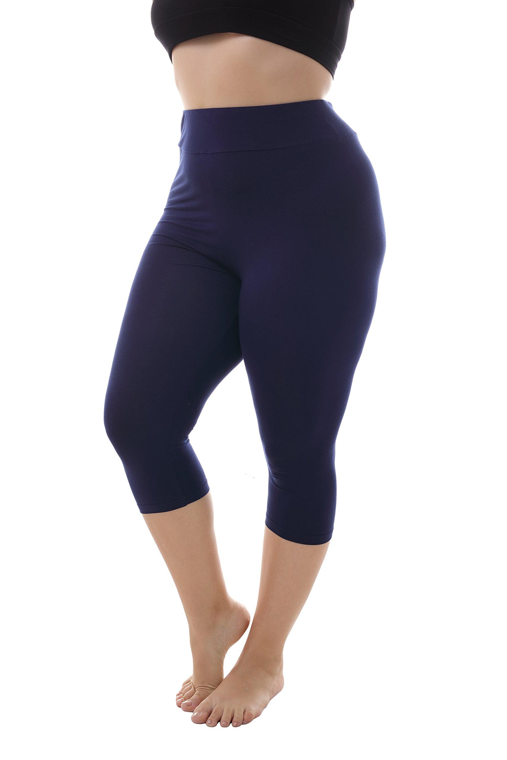 ZERDOCEAN Women's Plus Size Modal High Waist Capri Leggings for Summer Navy 3X