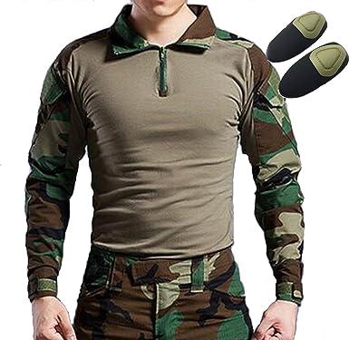 Tactical caza Militar manga larga camisa con coderas camuflaje Woodland Bosque, Bosque