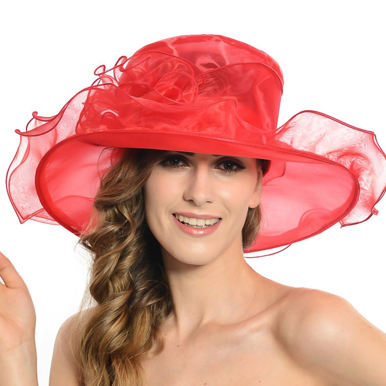 Acecharming Women Organza Kentucky Derby Fascinator Lady Cocktail Tea Party Church Wedding Bridal Flower Hat 53923