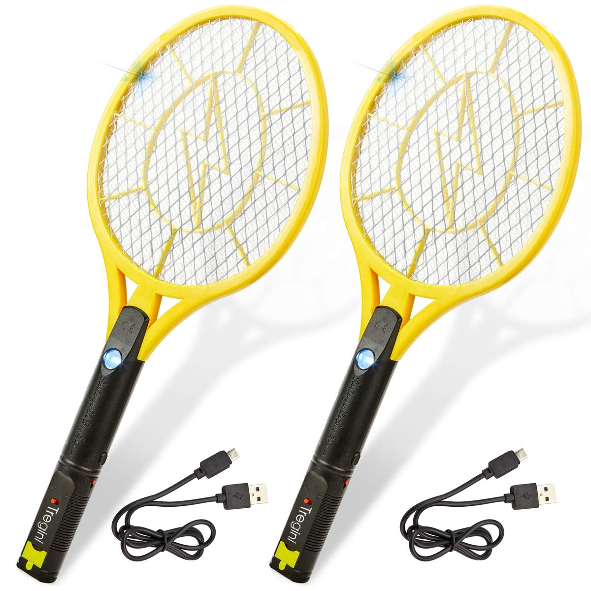 Tregini Large Electric Fly Swatter 2 Pack - Rechargeable Bug Zapper Tennis Racket with Safe to Touch Mesh Net and Built-in Flashlight - Kills Insects, Gnats, Mosquitoes and Bugs by Tregini