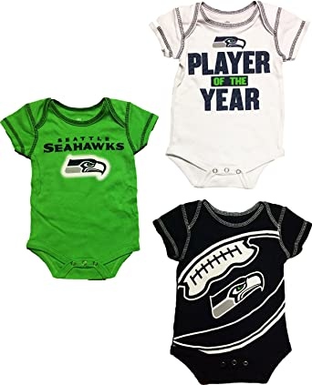 87e4a124d77 Seattle Seahawks Newborn Infants Home Alternate Away 3 Piece Creeper Set (0/ 3 Months