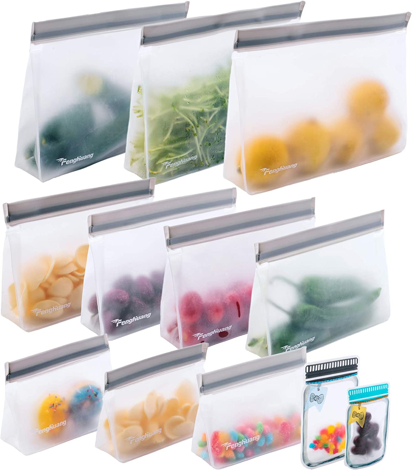 12 Reusable Food Storage Bags,STAND UP Reusable Freezer Bags,Snack,Lunch,Sandwich Bags for kids