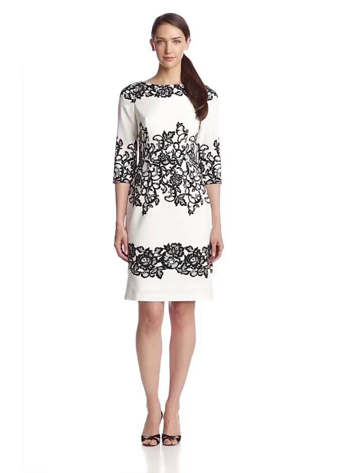 Adrianna Papell Womens 3/4 Sleeve Floral Lace Sheath Dress