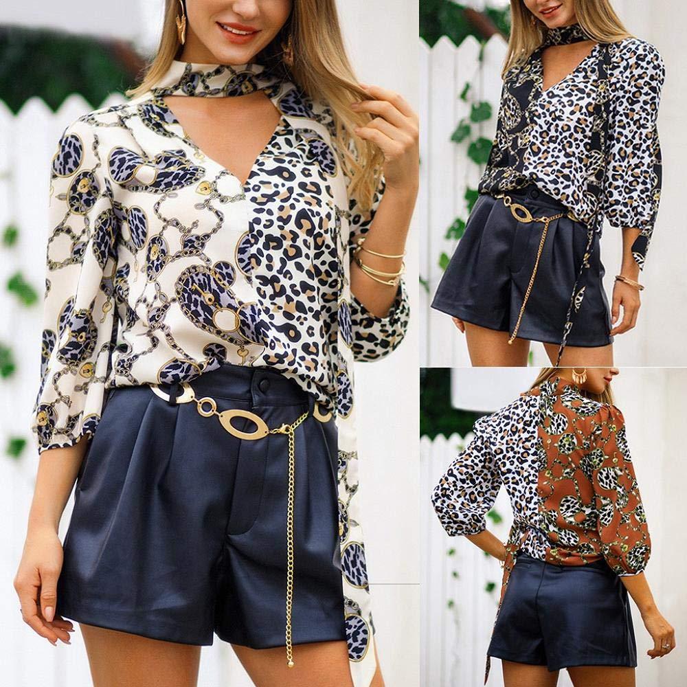 STORTO Womens Deep V-Neck Leopard Print Three Quarter Sleeve Plus Size T-Shirt Tops