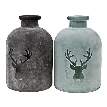 2 Glasflaschen Mit Hirschdekor 16cm Flasche Dekoflasche Glas Shabby