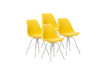 Design Furniture Eames Style Upholstered Dining Chair Set Of 4, Yellow  Modern Kitchen Dining Room