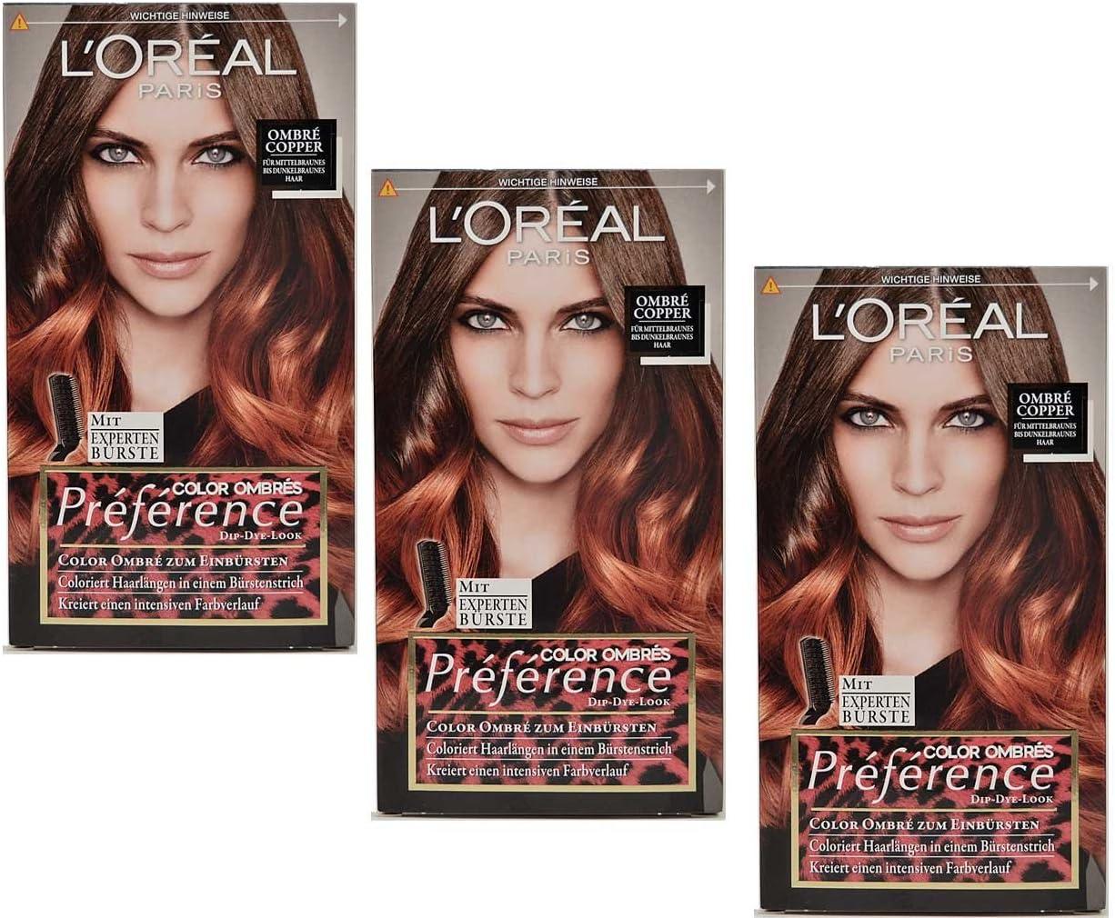 Loreal Preference Ombre Copper para cepillar, longitud del cabello teñido, 174 ml, 3 unidades