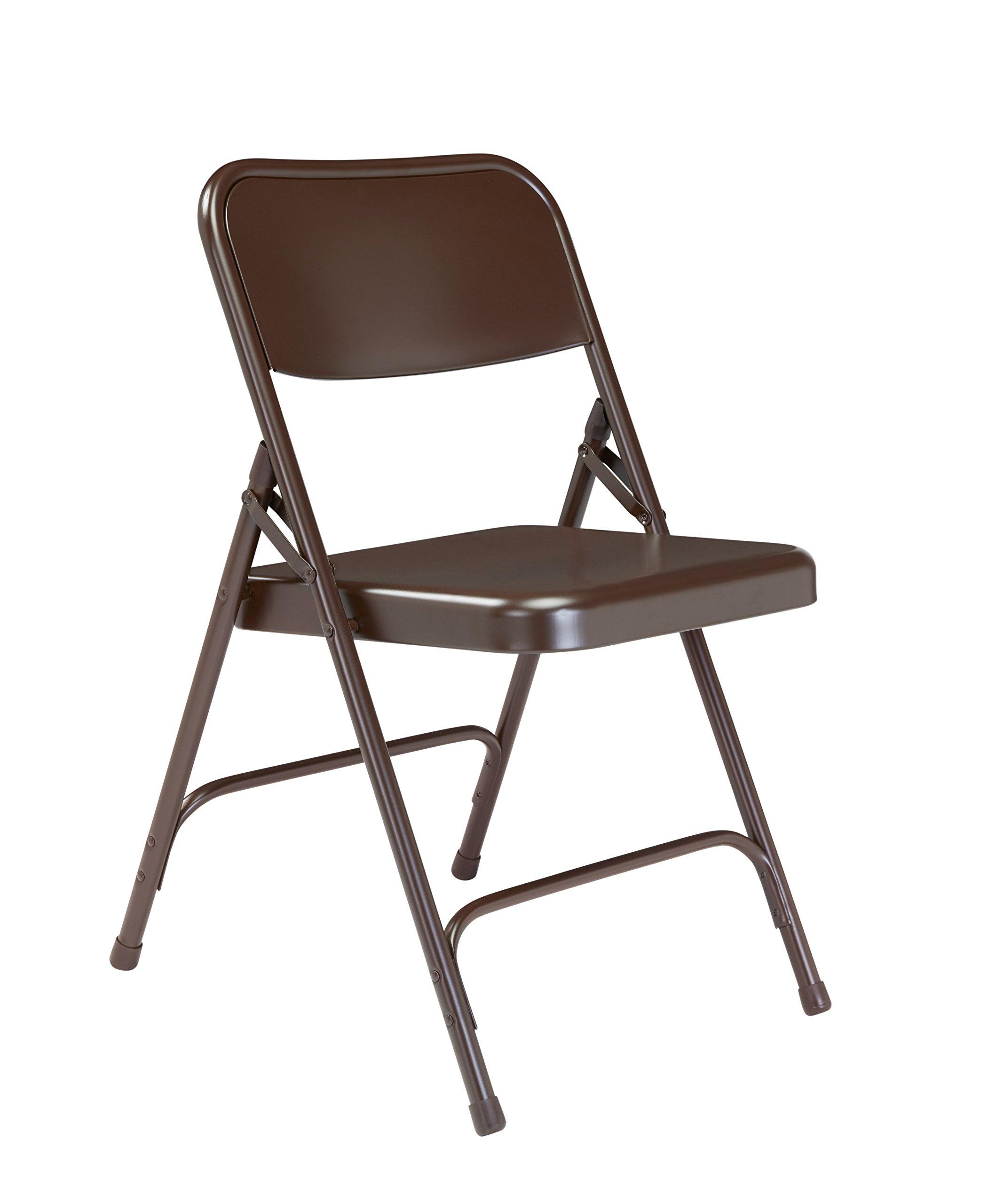 Folding Chair, Brown, Steel, Unpadded, PK4